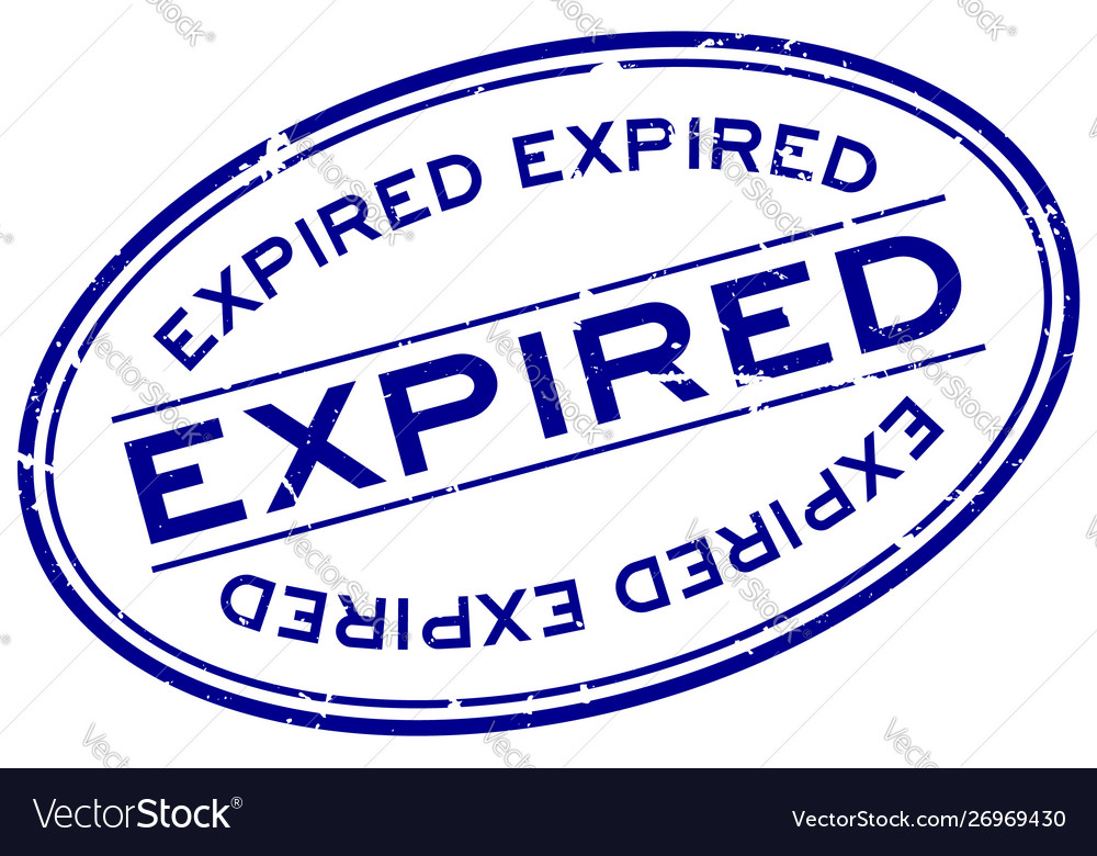 Grunge blue expired word oval rubber seal stamp