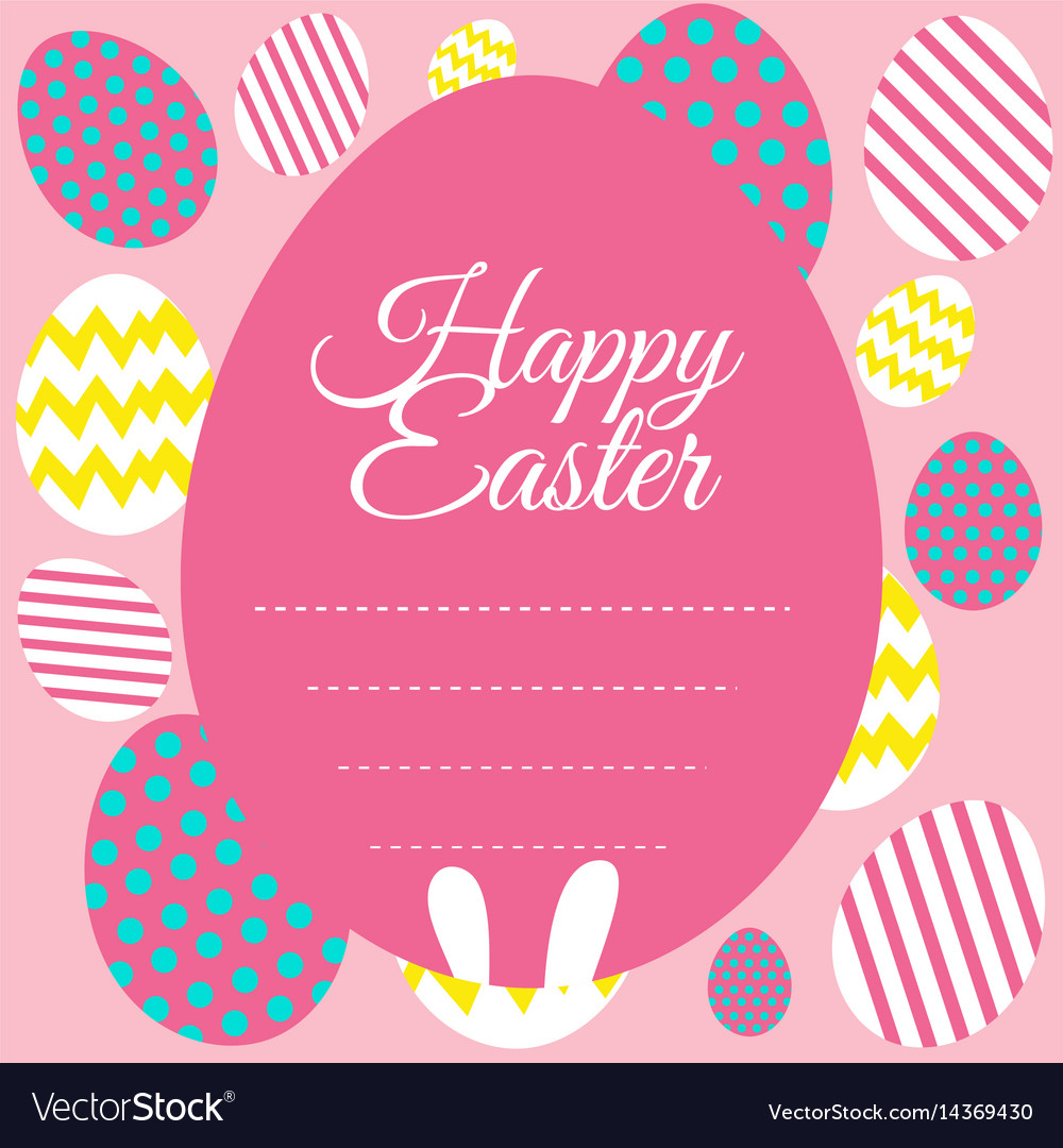 Happy easter card template with pink background
