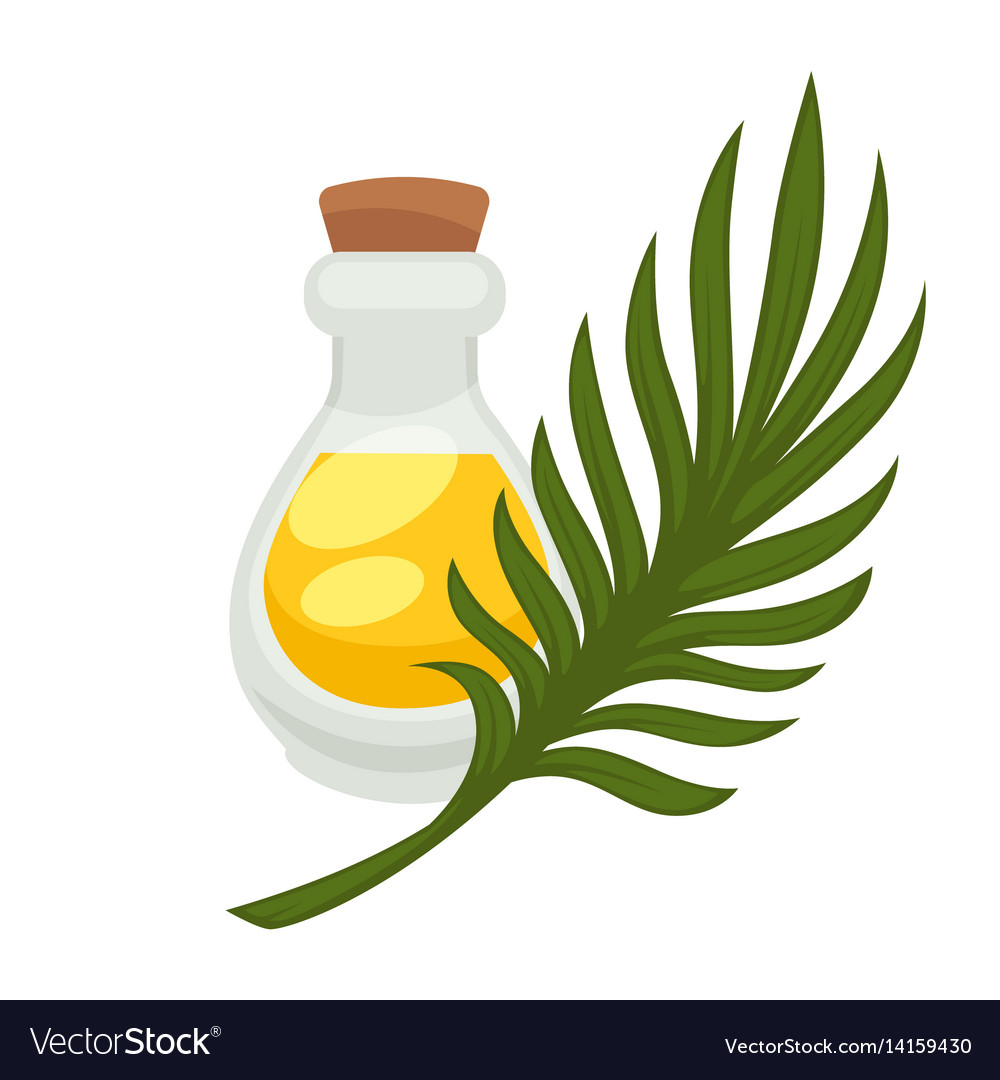 Palm oil in bottle flat isolated icon