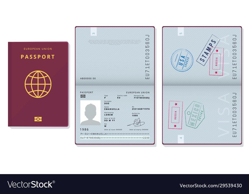 Passport template official id document visa