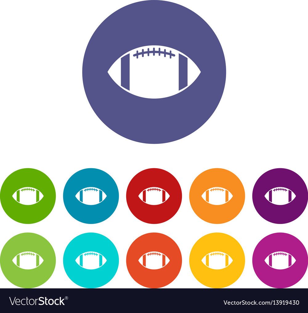 Rugby ball set icons