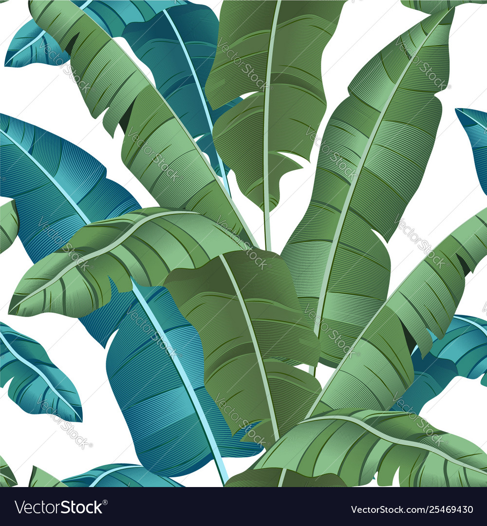 Seamless turquoise and green tropical pattern
