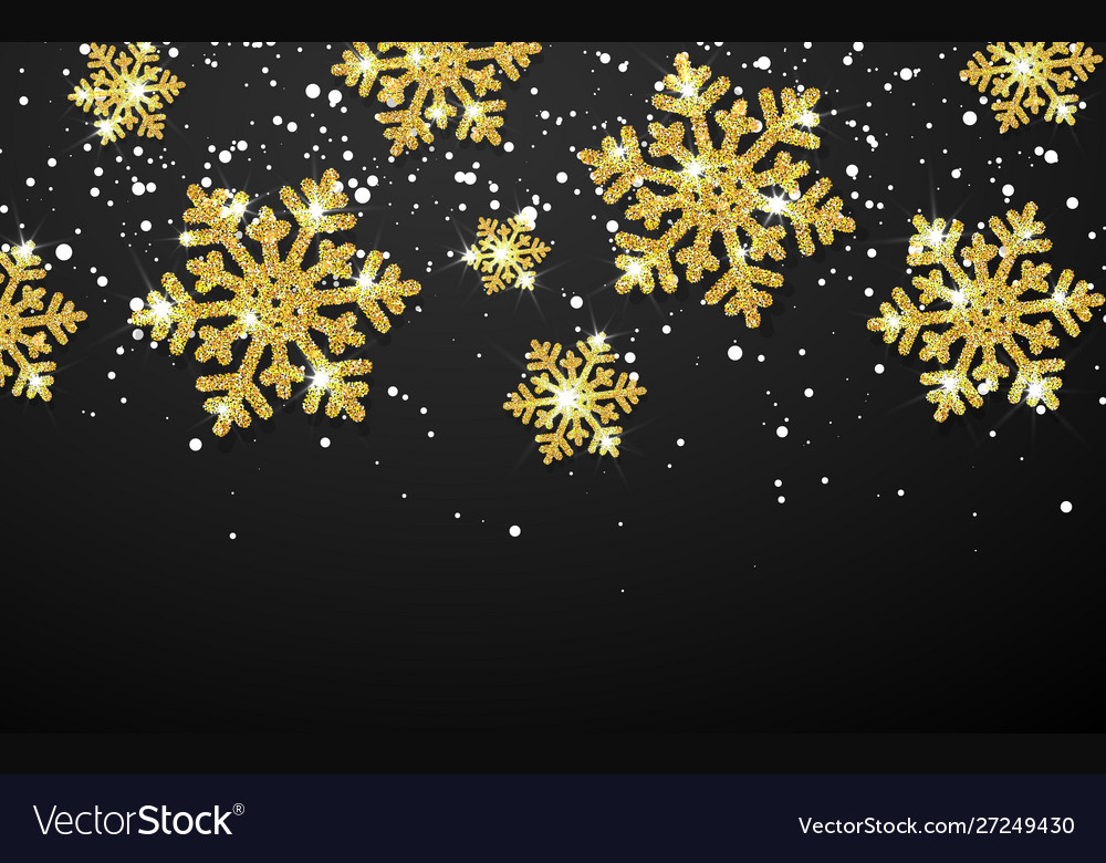 Shining gold snowflakes on black background