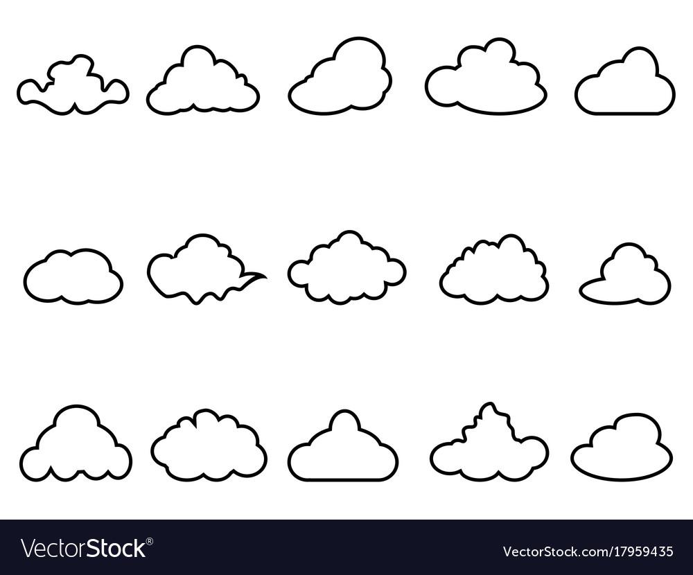 Black cloud outline icons set royalty free vector image black cloud outline icons set vector image voltagebd Choice Image