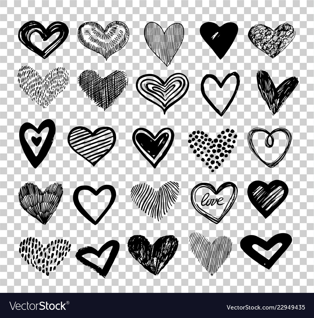 Doodle hearts hand drawn love heart icons