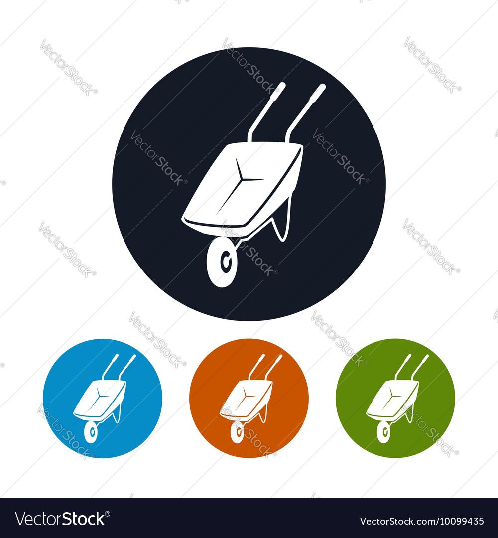 Four Types of Round Icons Wheelbarrow vector image