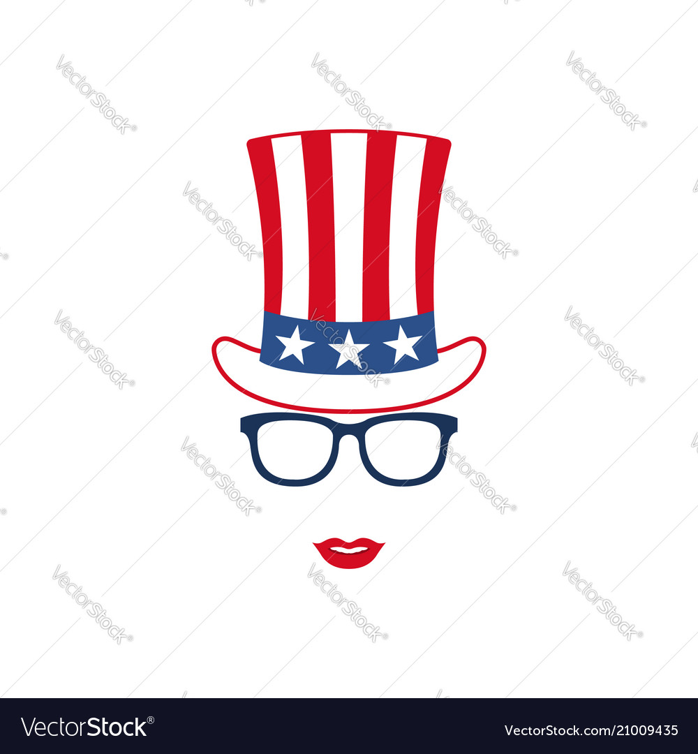 Glasses mustache and hat of uncle sam american