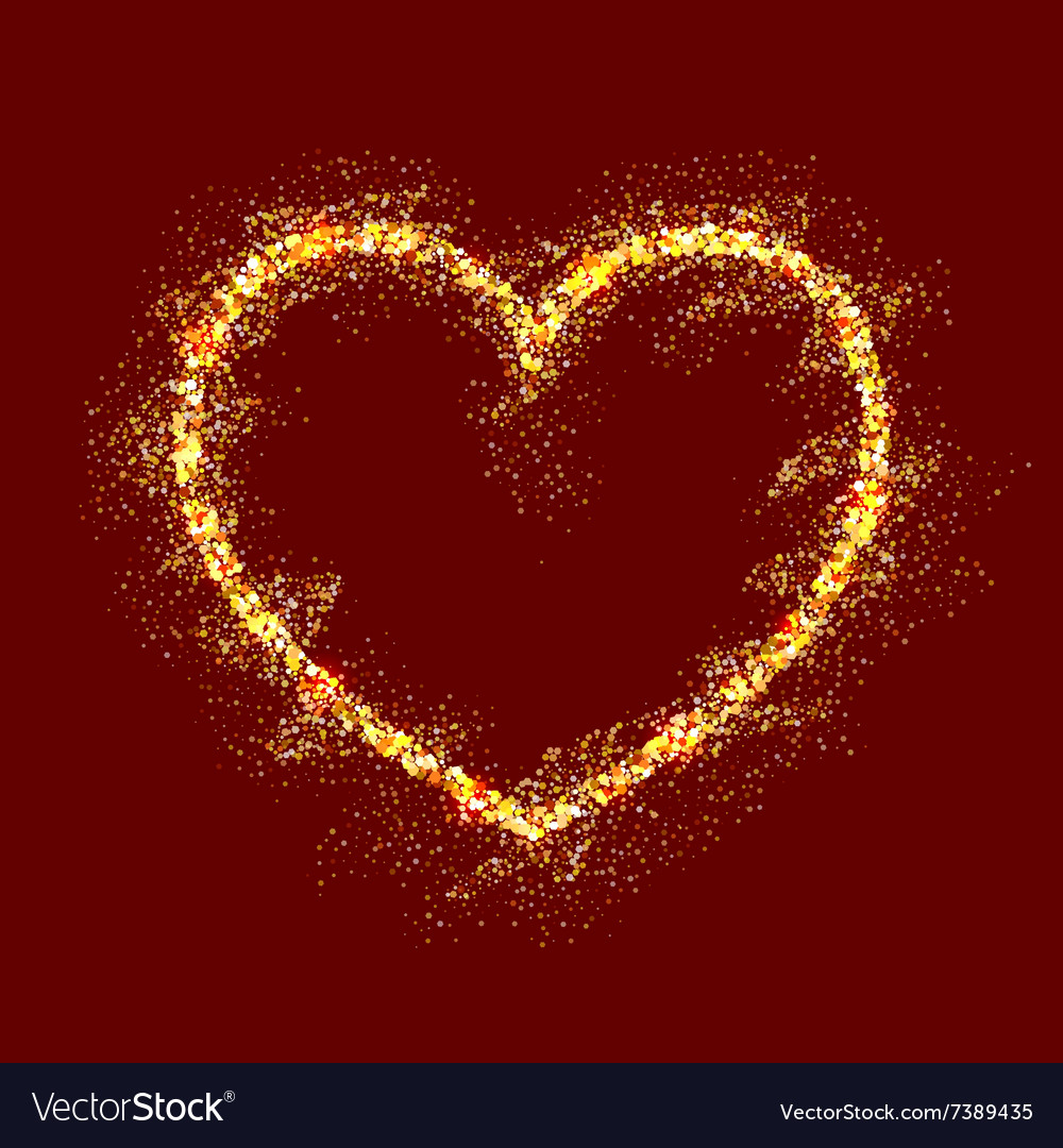 Gold shiny heart on red background