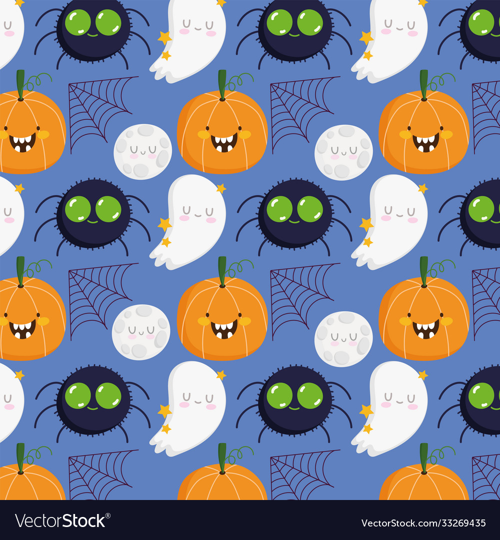Happy halloween spider pumpkin moon web ghost