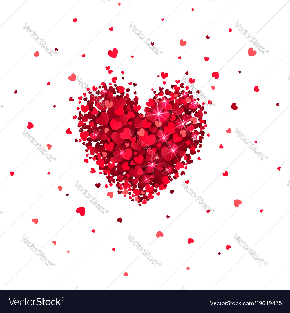 Heart of little red hearts vector image