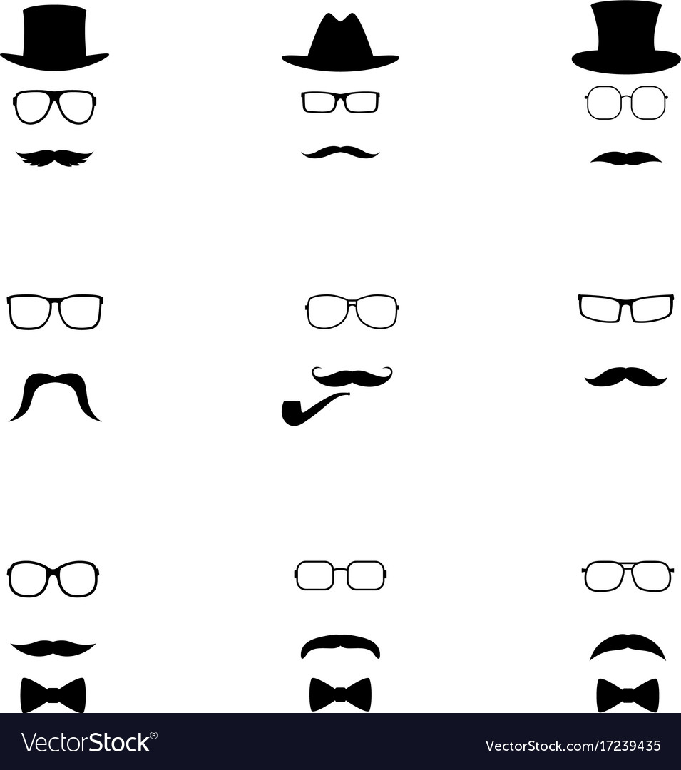Set of black hipster icons