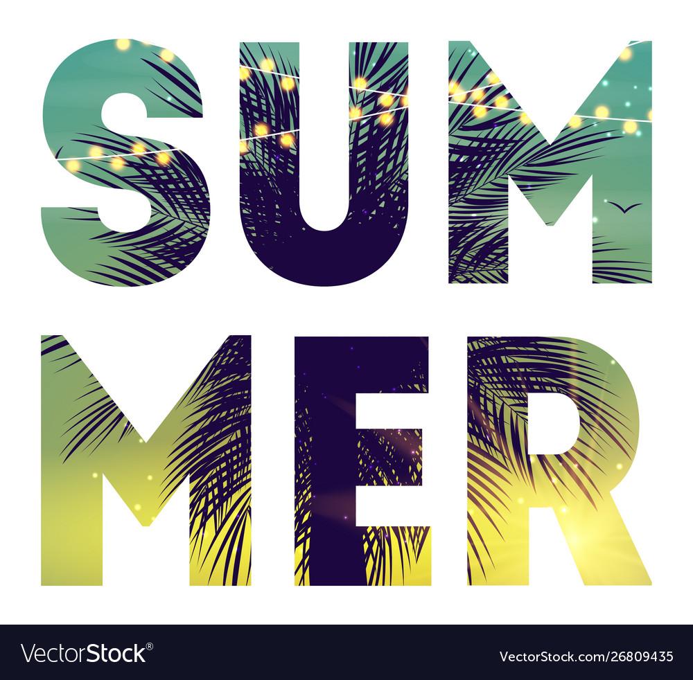 Summer night beach poster tropical natural