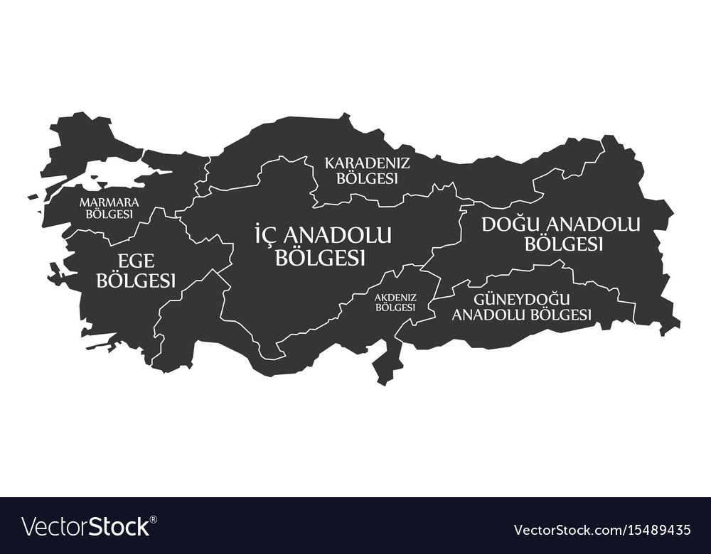 Turkey map labelled black in turkish