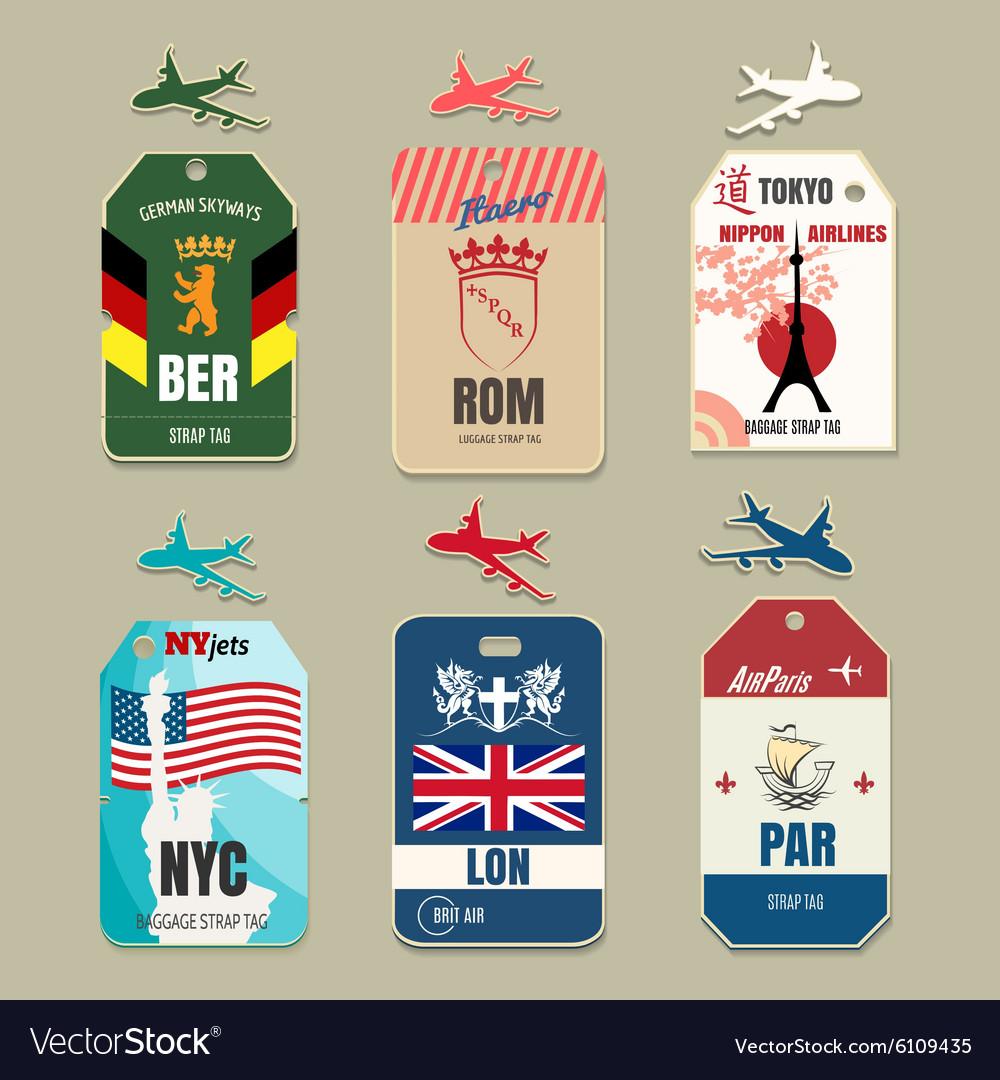 Vintage luggage tags vector image