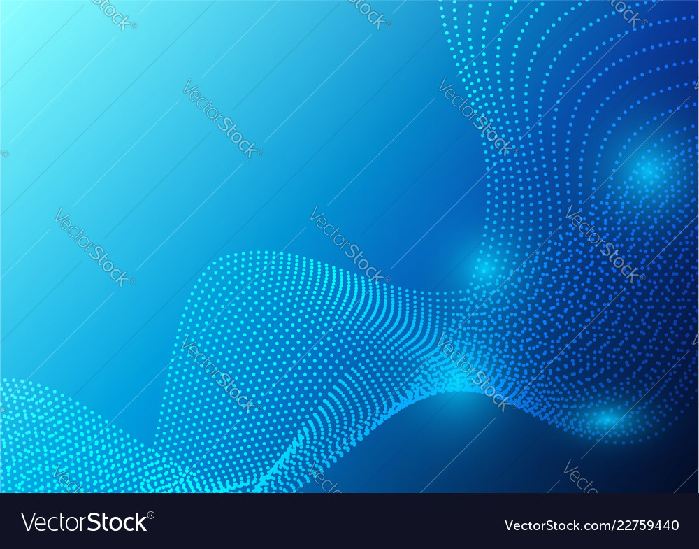 Blue color waves particle and geometric abstract