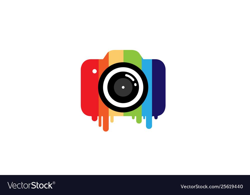 Creative colorful camera logo design symbol