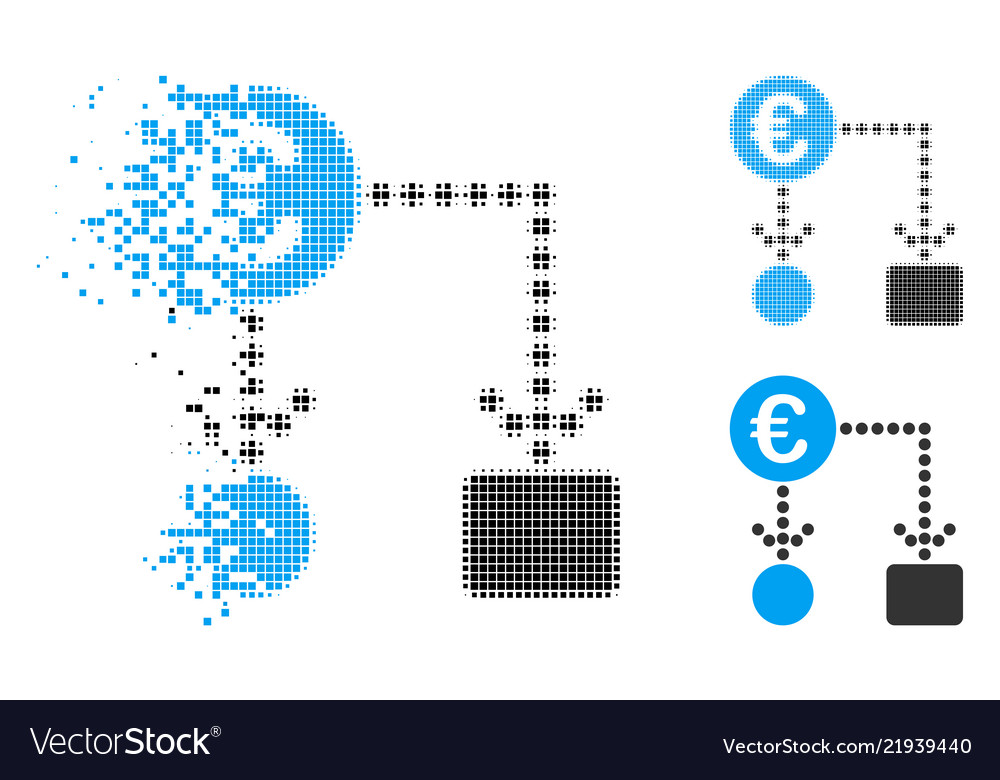 Disappearing Dotted Halftone Euro Flow Chart Icon Vector Image
