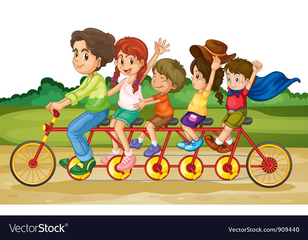 Family on tandem bike vector image