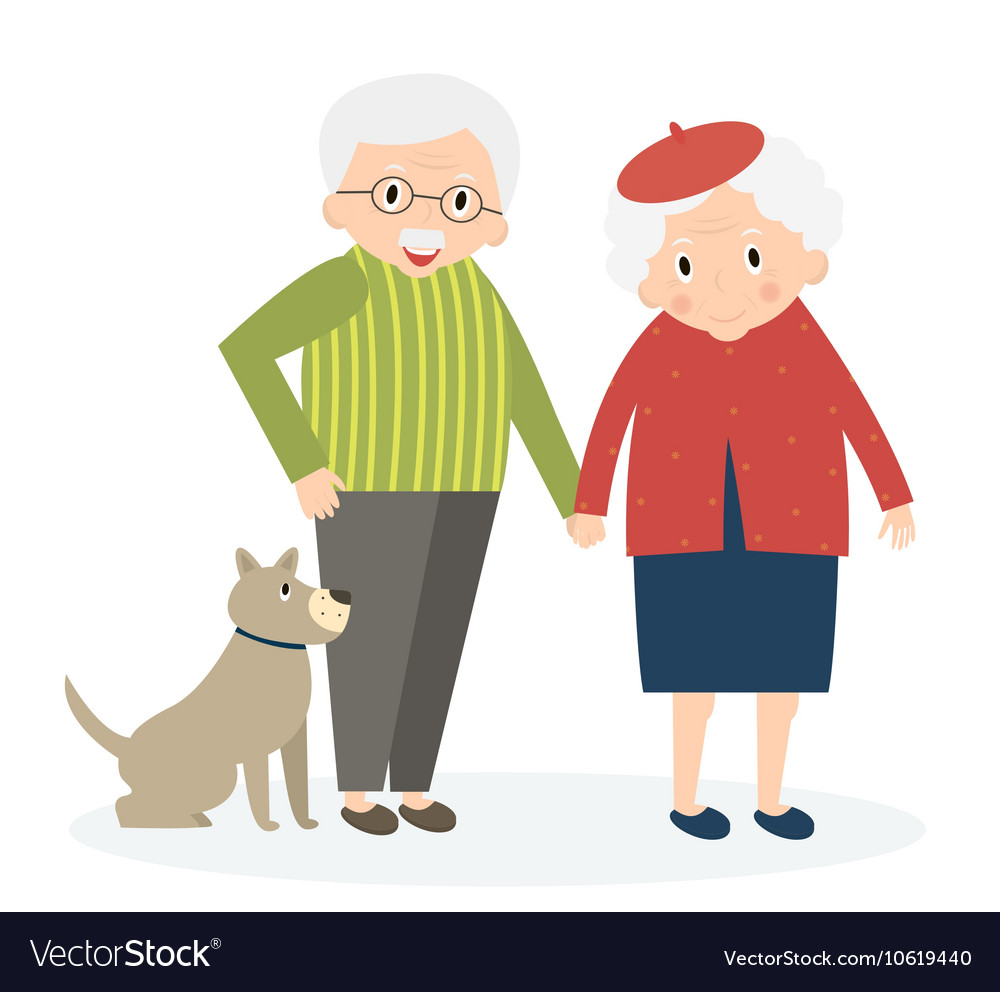Happy old couple together Seniors couple with dog