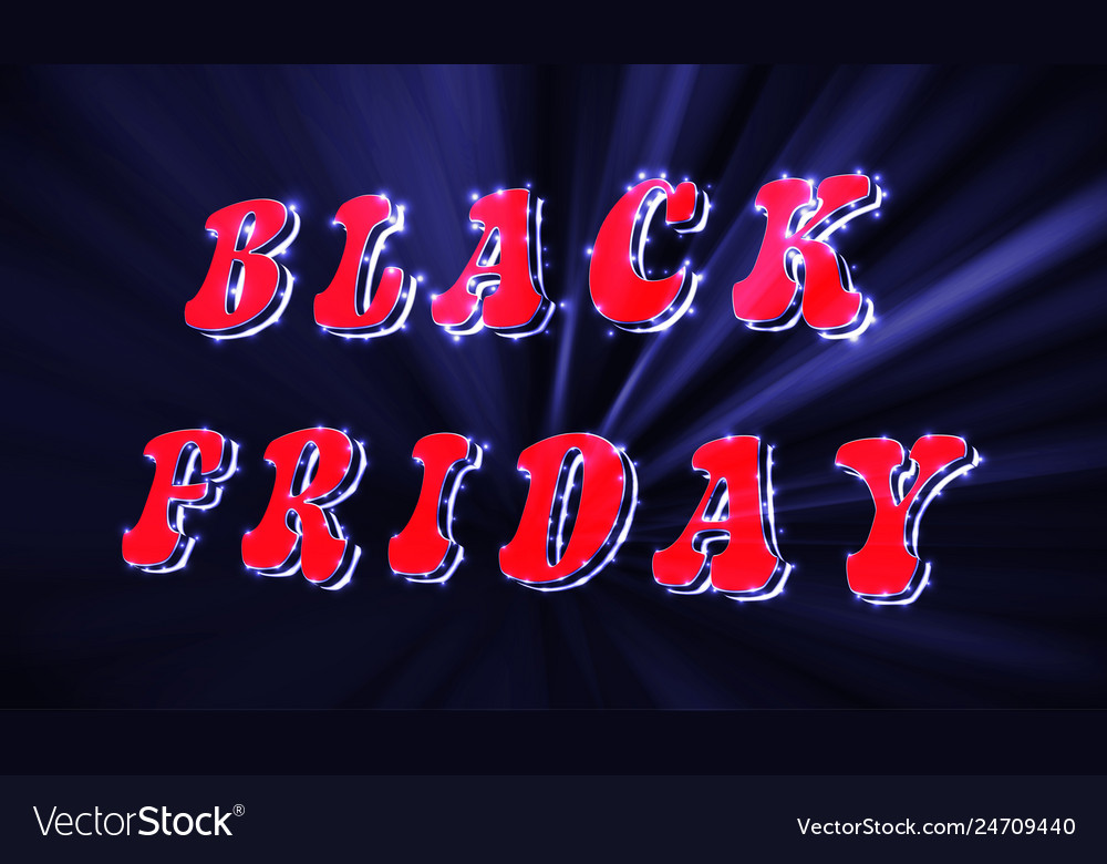 Neon black friday sale inscription design