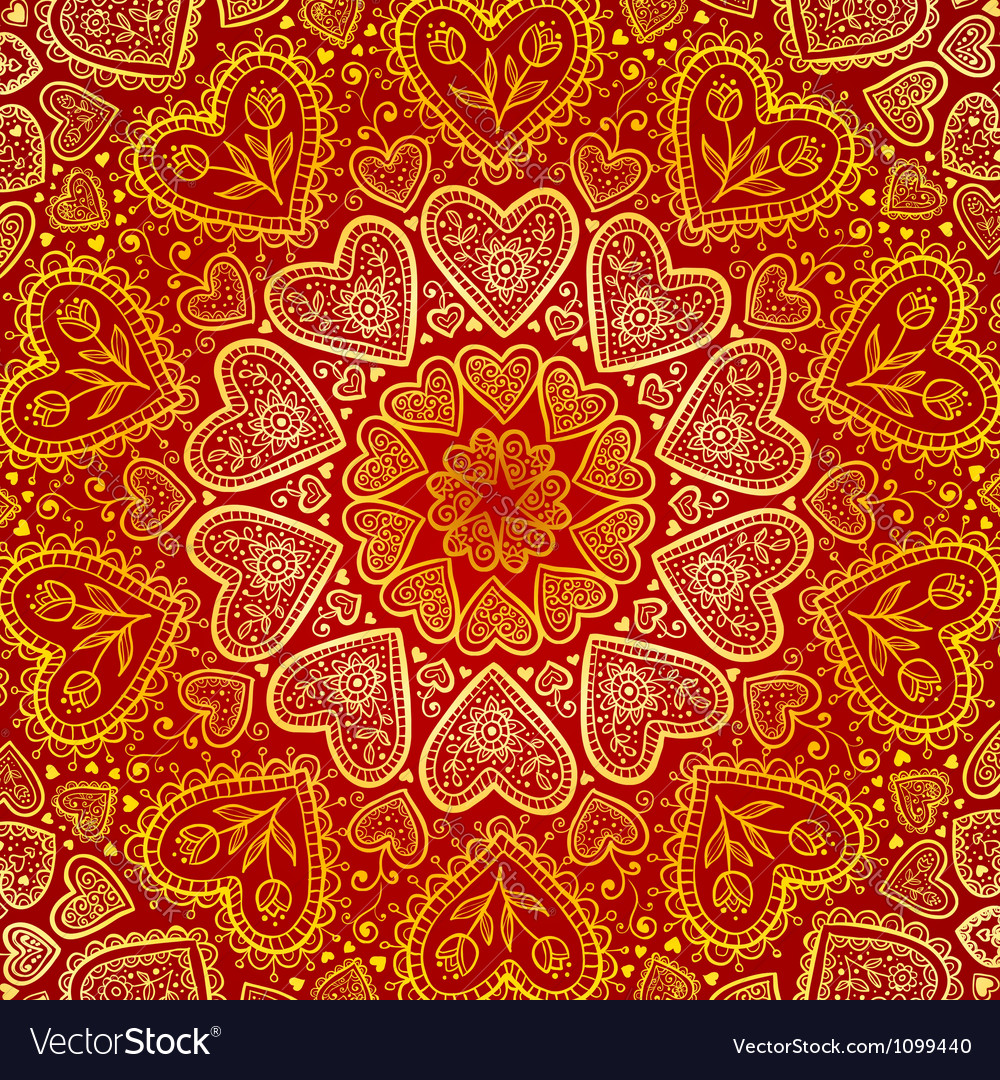 Ornamental round hearts pattern in Indian style