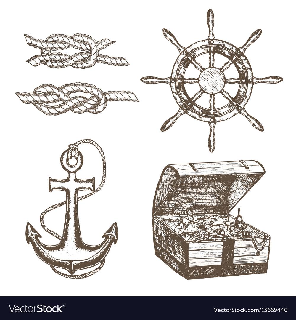 Sailor equipment set hand draw sketch