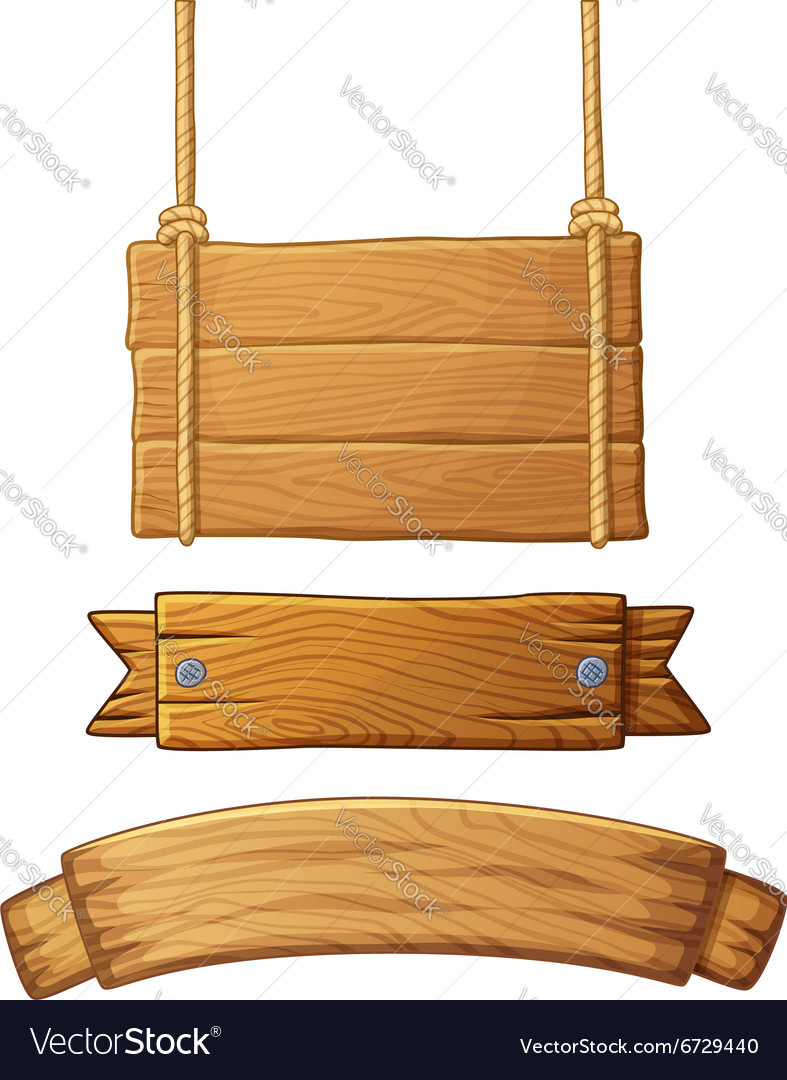 Set of light wooden banners vector image