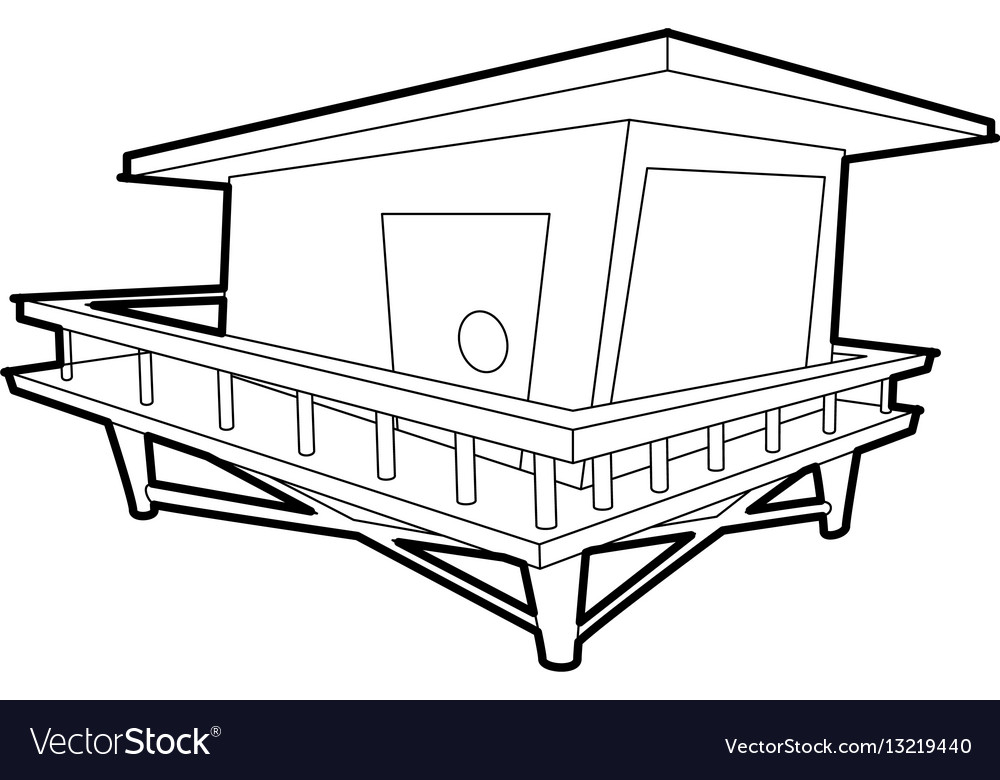 Stilt house icon outline style vector image