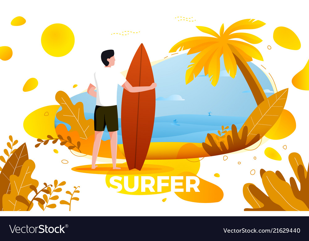 Surfing man on a beach