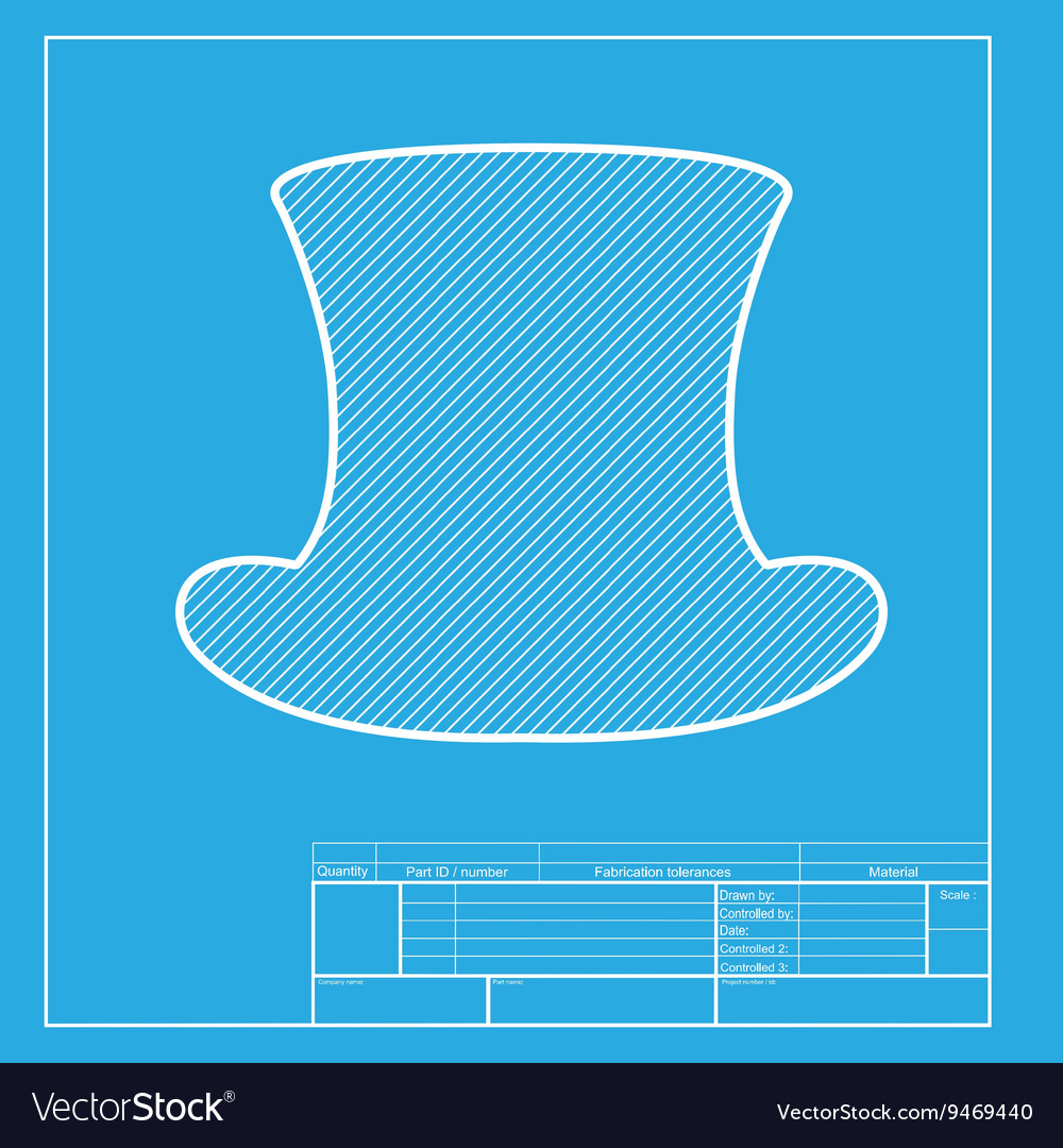 Top hat sign white section of icon on blueprint vector image malvernweather Choice Image