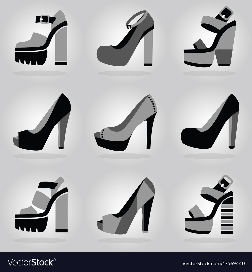 Women trendy platform high heel shoes icons set vector image