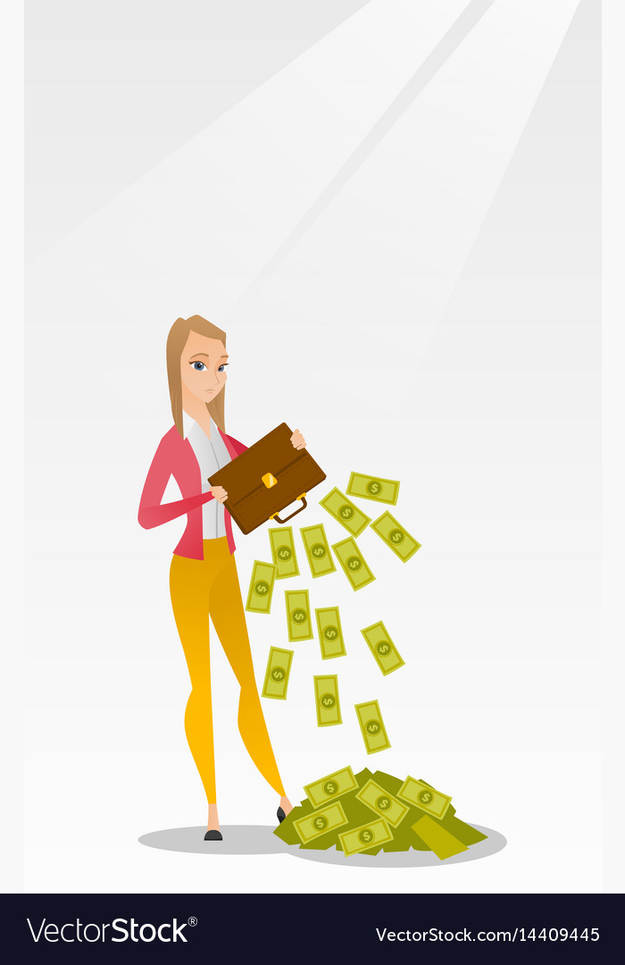 Bankrupt shaking out money from her briefcase