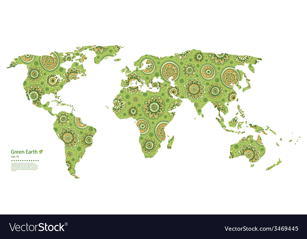 Beautiful Map Of The World.Beautiful Floral World Map Royalty Free Vector Image