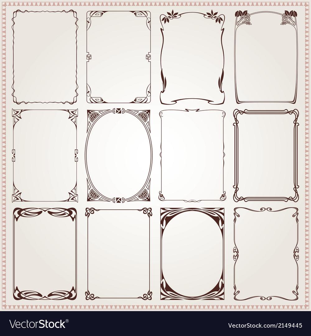 Borders Frames Art Nouveau Style vector image