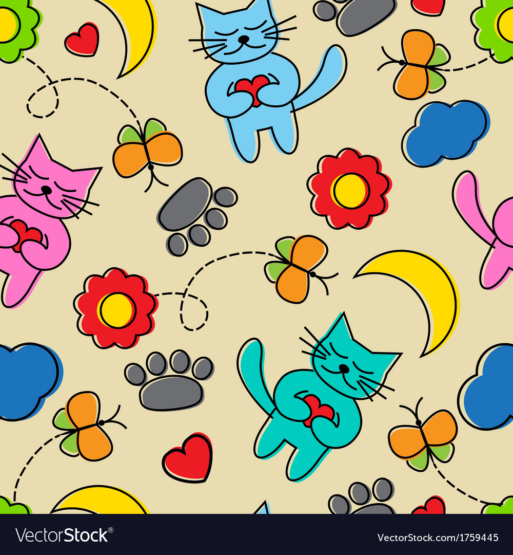Cartoon seamless pattern with cats