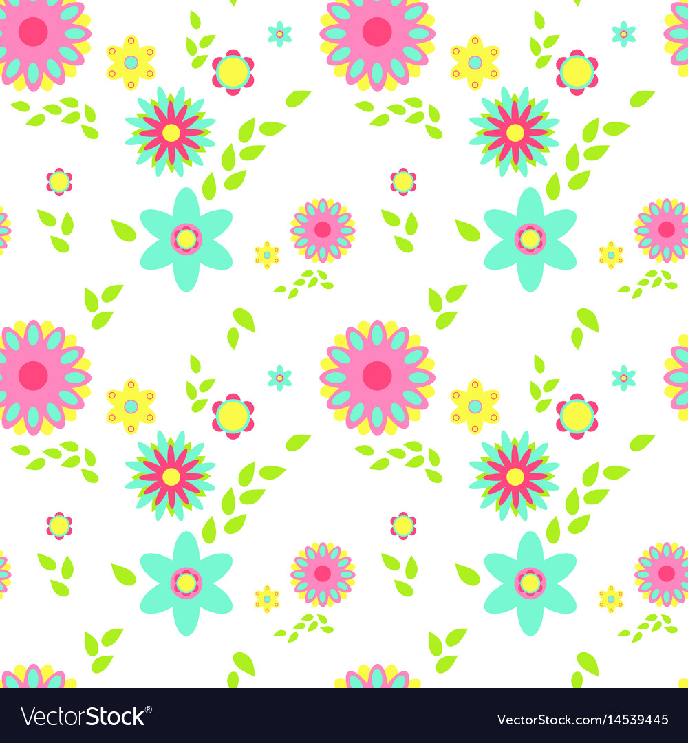 Colorful flowers spring seamless pattern