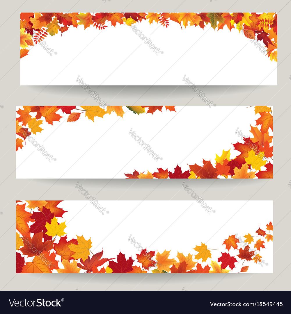 Fall leaves banner set swirl autumn leaf