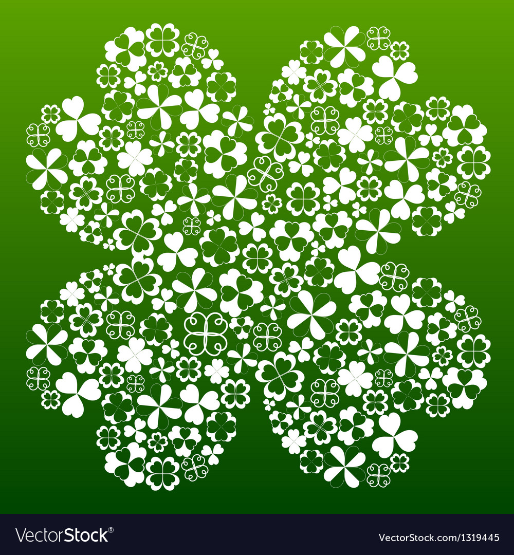 Four Leaf Clover Made From Small Clover Symbols Vector Image
