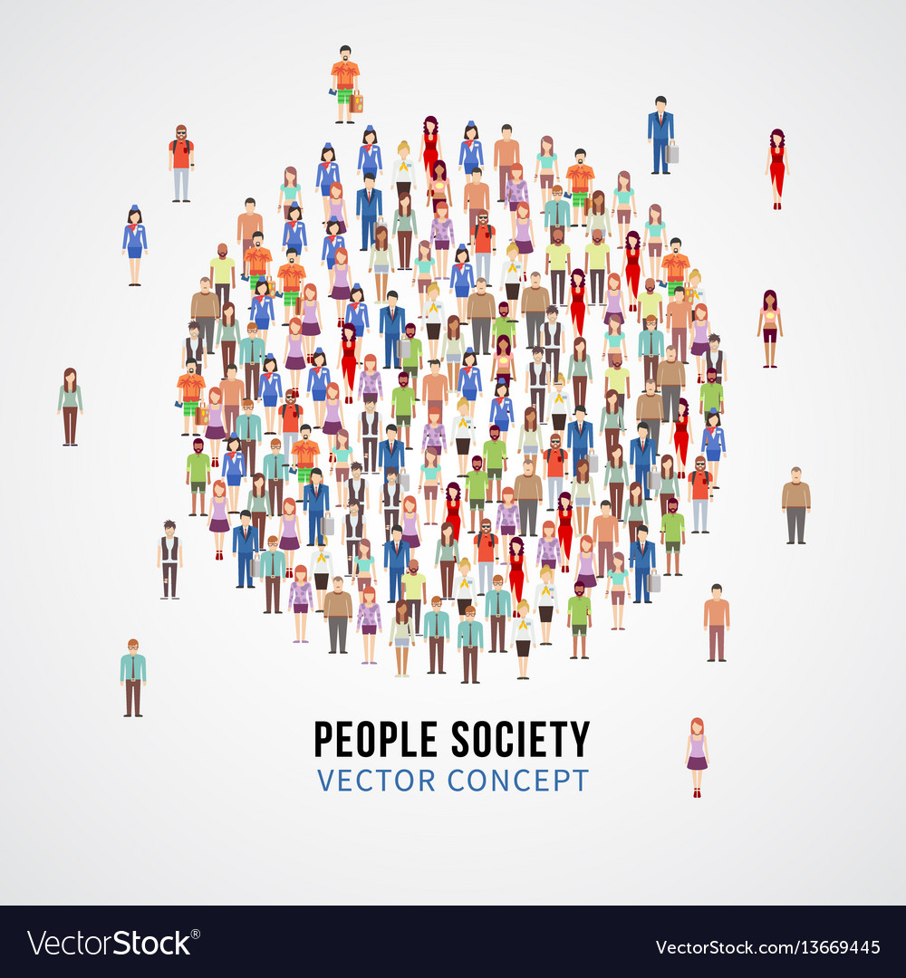 Large people crowd in circle shape society