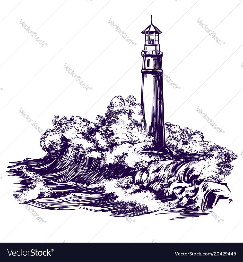 Lighthouse and sea landscape storm hand drawn