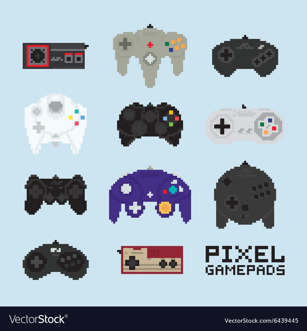 Pixel art isolated gampads