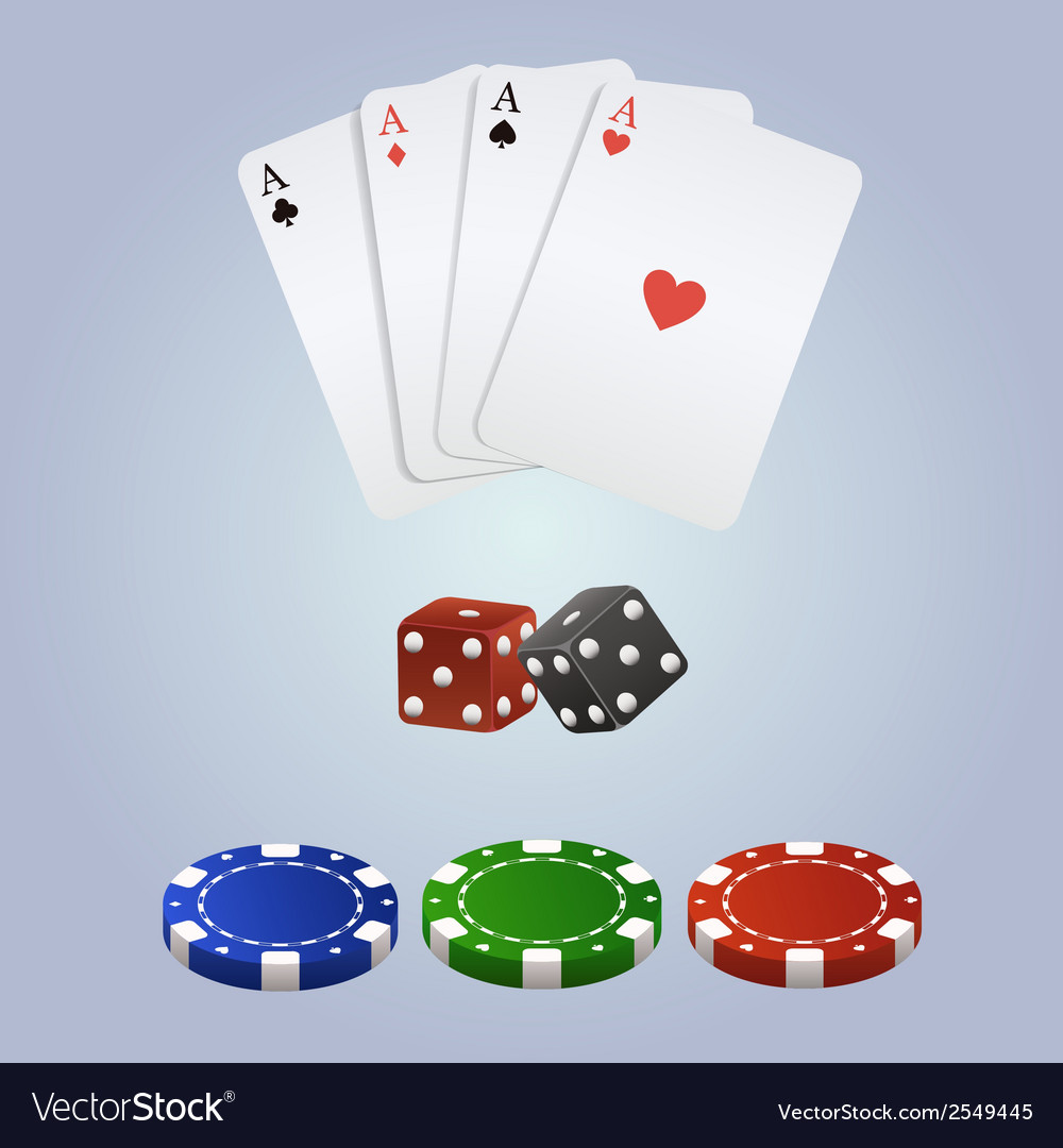 Poker set with playing cards dices and chips vector image