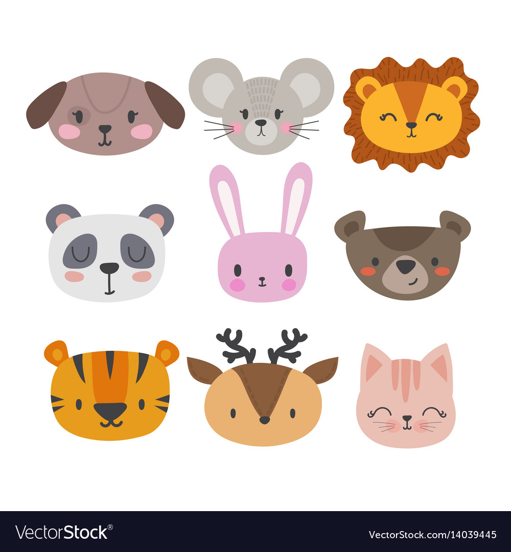 Set of cute hand drawn smiling animals cat