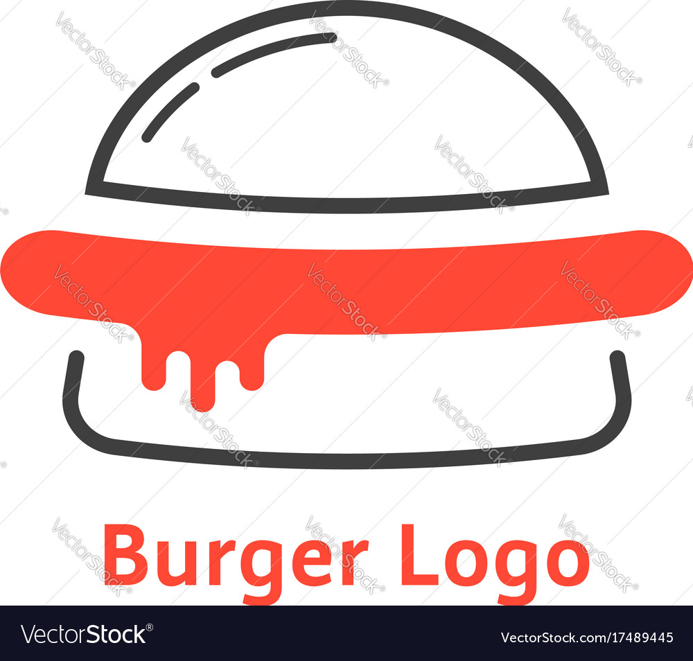 Thin line burger logo with red sauce