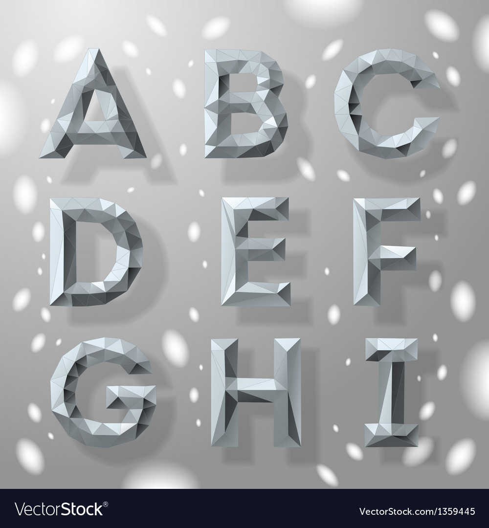 Trendy grey fractal geometric alphabet part 1