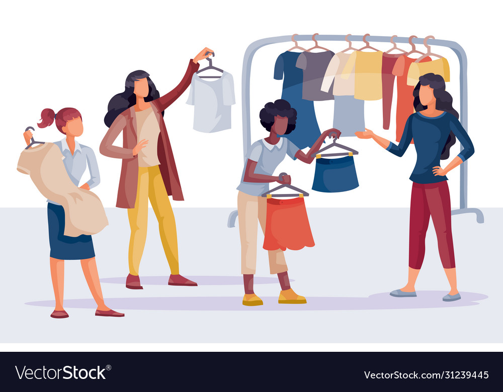 Women in shop buy themselves clothes dress Vector Image