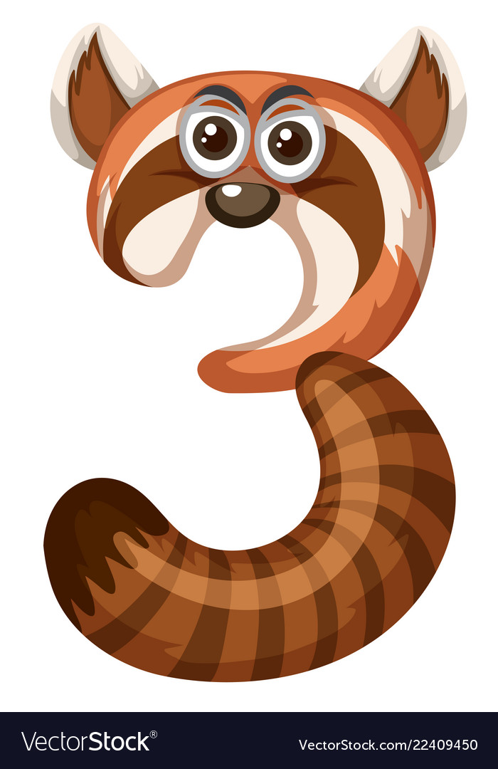 Animal Cartoon Number Three Royalty Free Vector Image