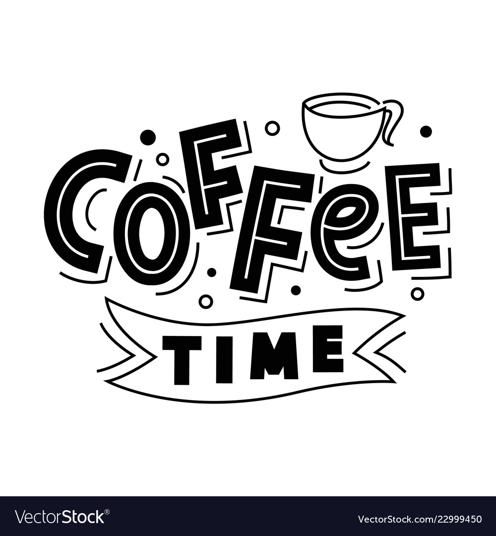 Coffee time lettering logo badge isolated