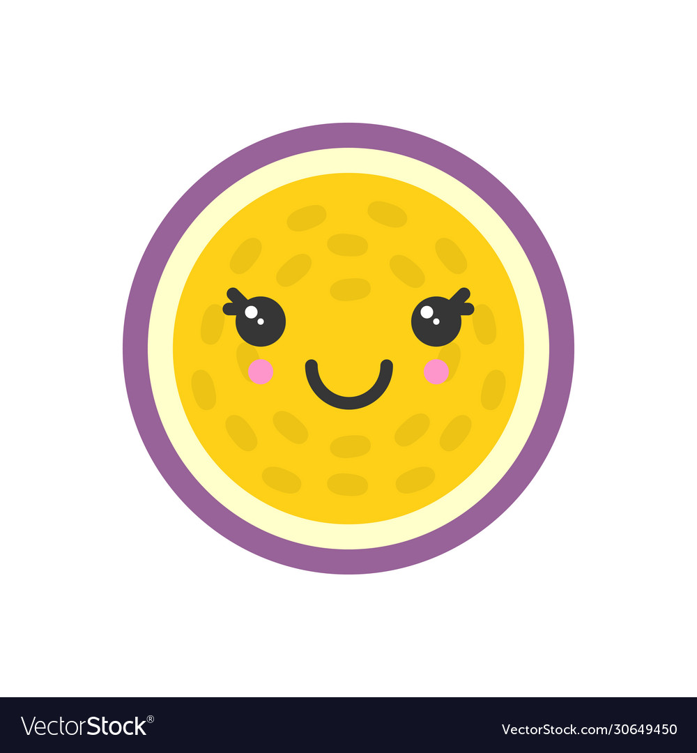 Cute smiling exotic passion fruit isolated