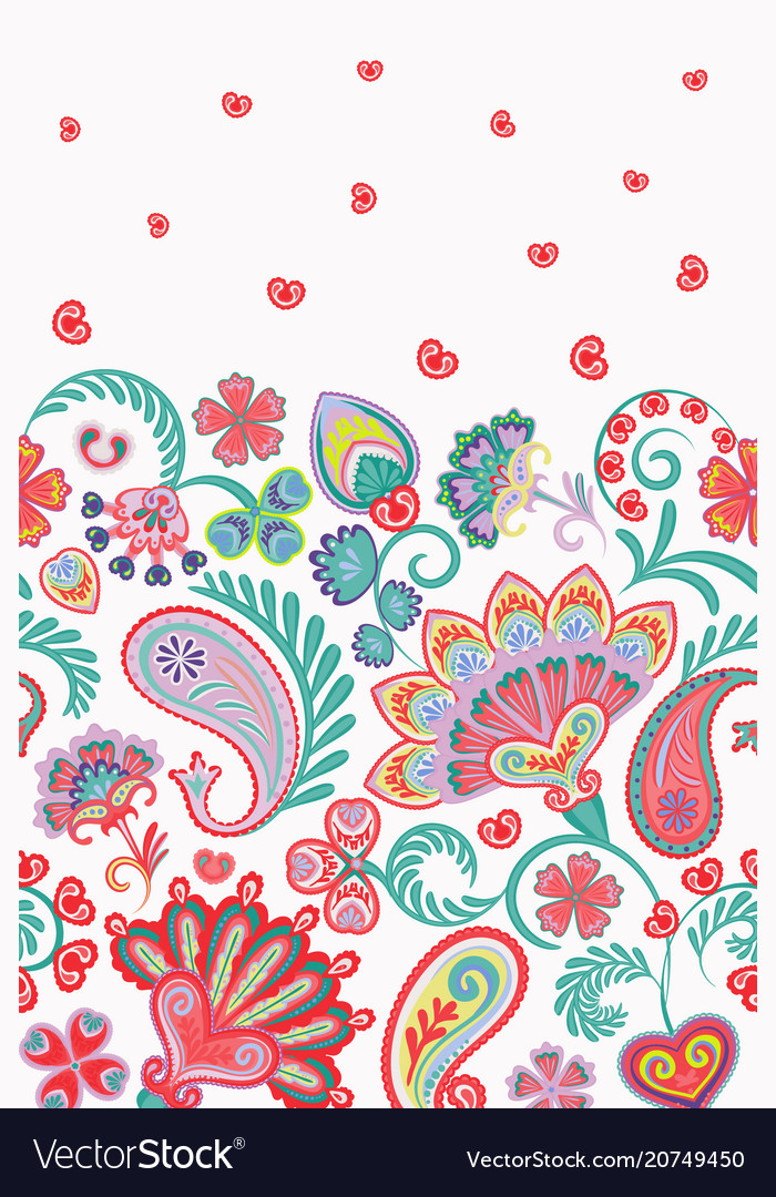 Damask style paisley floral vertical seamless